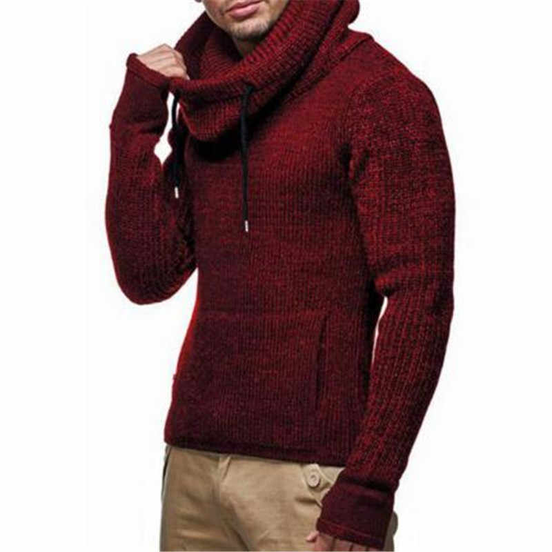 Drawstring 큰 터틀넥 남성 헴 불규칙한 니트 스웨터 망 캐주얼 슬림 대형 3xl 풀오버 스웨터 남성 저지 hombre