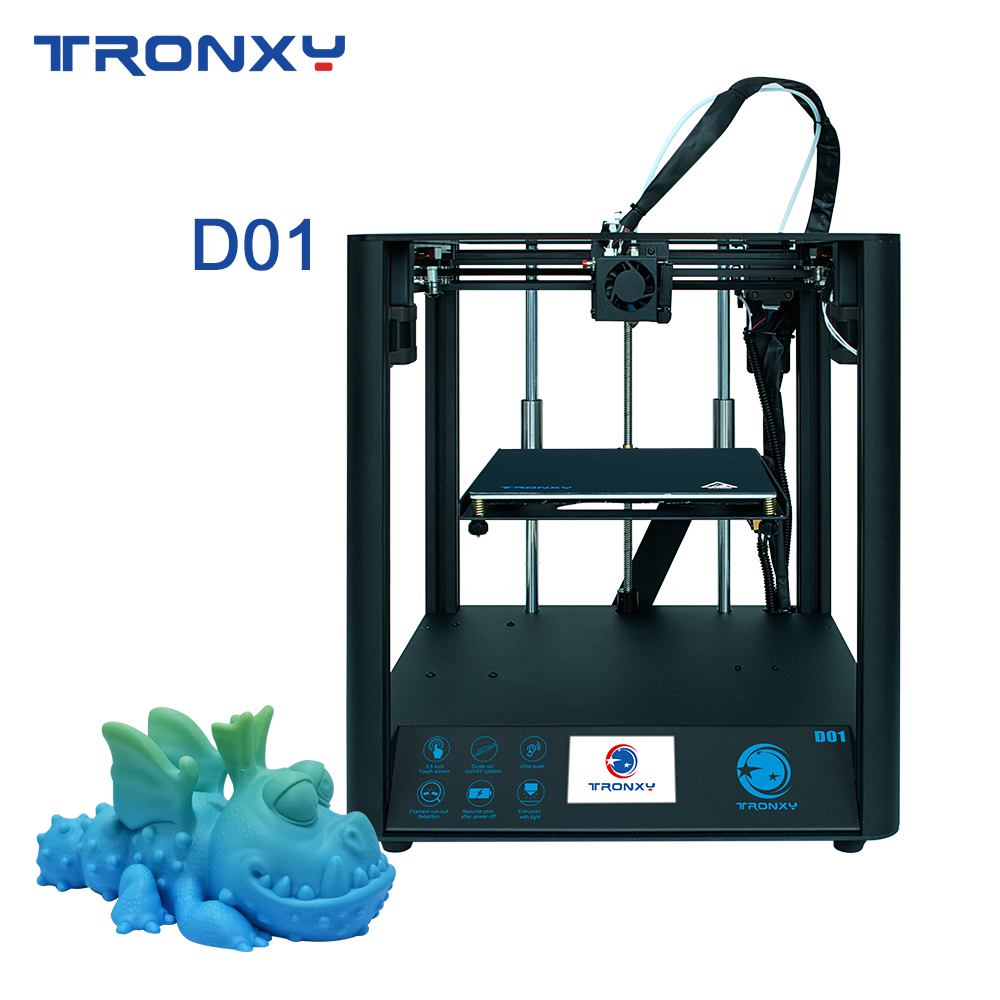 Tronxy mais novo d01 3d impressora corexy estrutura industrial guia linear trilho silencioso design titan extrusora de alta precisão impressão