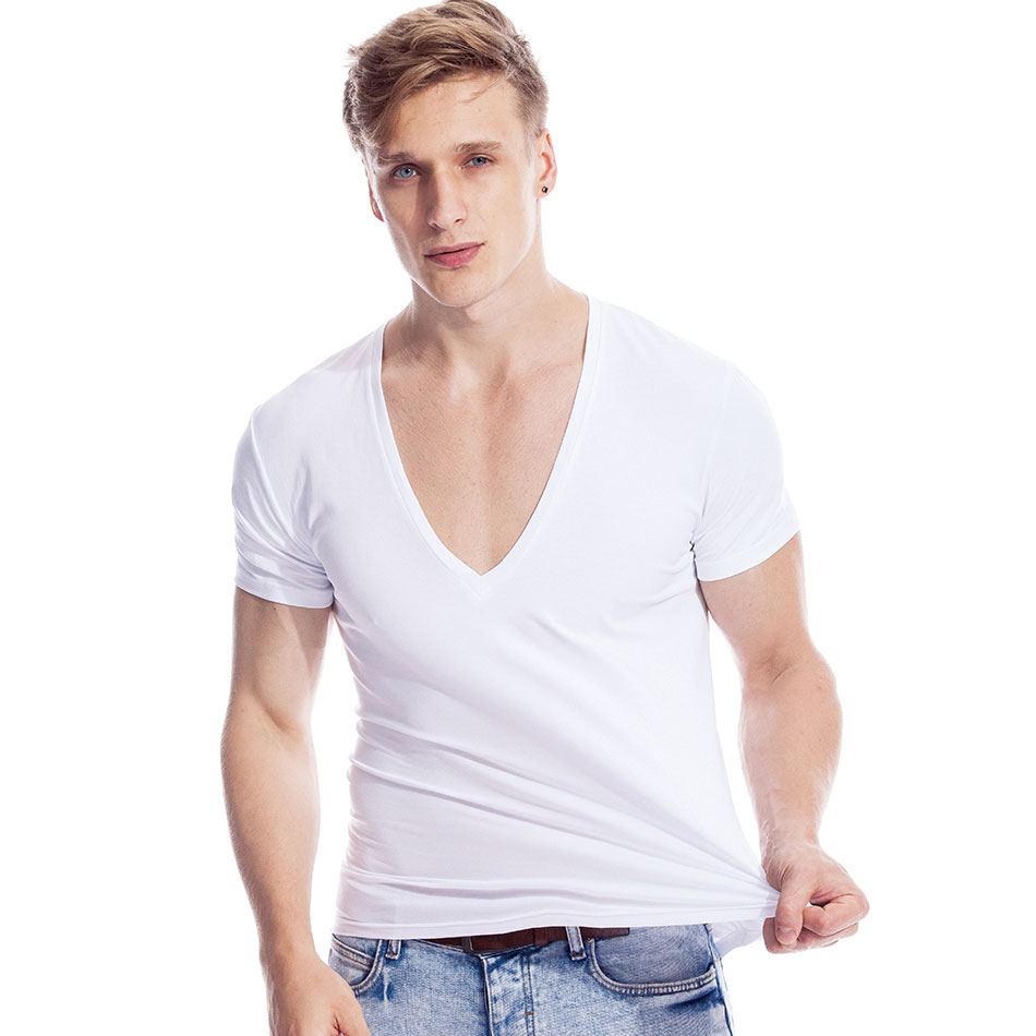 Deep V Neck Tshirt For Men Low Cut Vneck Wide Vee Top Tee Male Modal Drop Tail Slim Fit Short Sleeve Tshirt Invisible Undershirt