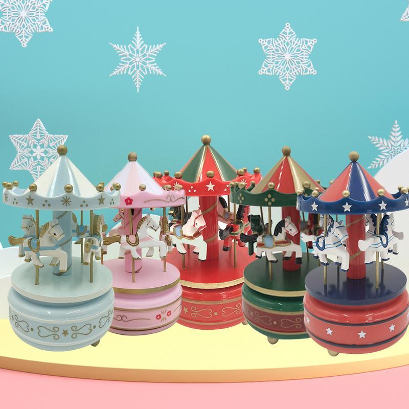 2019 Musical box carousel music carousel wooden carousel music box toy children's doll game