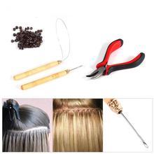 100 силиконовых микро-звеньев/Бусин+ 1 Тянущая игла+ 1 кольцевая игла+ 1 шт. плоскогубцы для наращивания волос с отверстиями, набор инструментов для макияжа