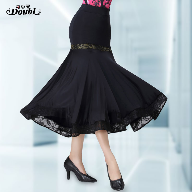 Doubl Brand 2019 Dance Skirt Long Waltz Ballroom Dancewear Outfits Party New Style National Standard Modern Practice Hip Wrapped