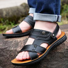 Men Sandals Summer Leather Sandals Men Casual Shoes Men Slippers Sneakers Summer Shoes Flip Flops Top Leather Men Shoes summer men shoes black men half slippers high quality men leather casual shoes loafers flip flops lightweight flats sandals