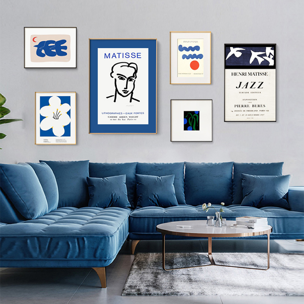 BANANART Modern Nordic Blue Flower And Bird Canvas Print Living Room Home Decoration Wthout Frame