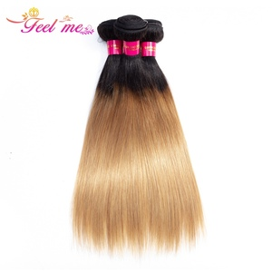 FEEL ME Ombre Straight Hair Bundles 1b/27 Two Tone Peruvian Human Hair Bundles 1/3/4 pcs Non-remy Hair Weave Extensions(China)