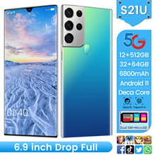 New Global Version S21U 6.9 Inch Smartphone Latest 10 Core 6800mAh 16+512GB 32+64MP Full Screen Dual SIM Dual Standby Cell Phone