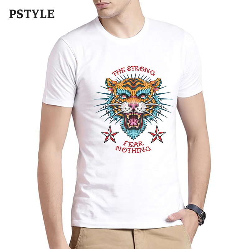 Men fashion t shirt short sleeve mens shirts cartoon tiger print t-shirt the strong fear nothing letter graphic tops clothing