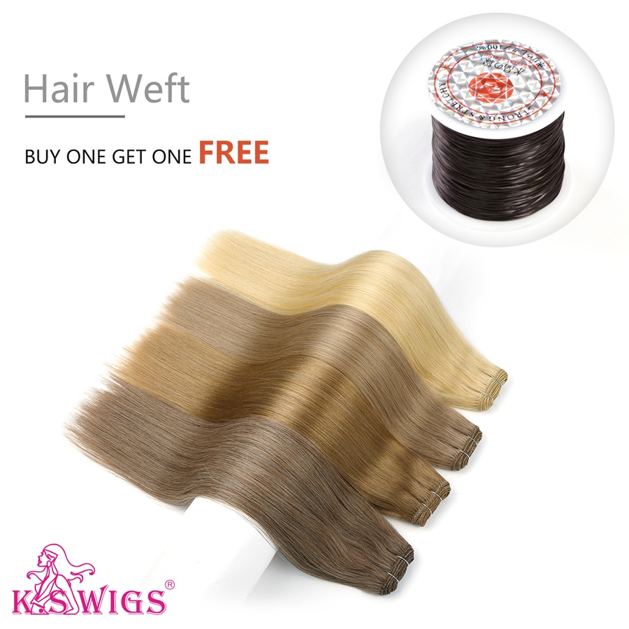 K.S WIGS 100g/pc Straight Double Drawn Hair Weft Remy Human Hair Weaves Bundles 20'' 24''