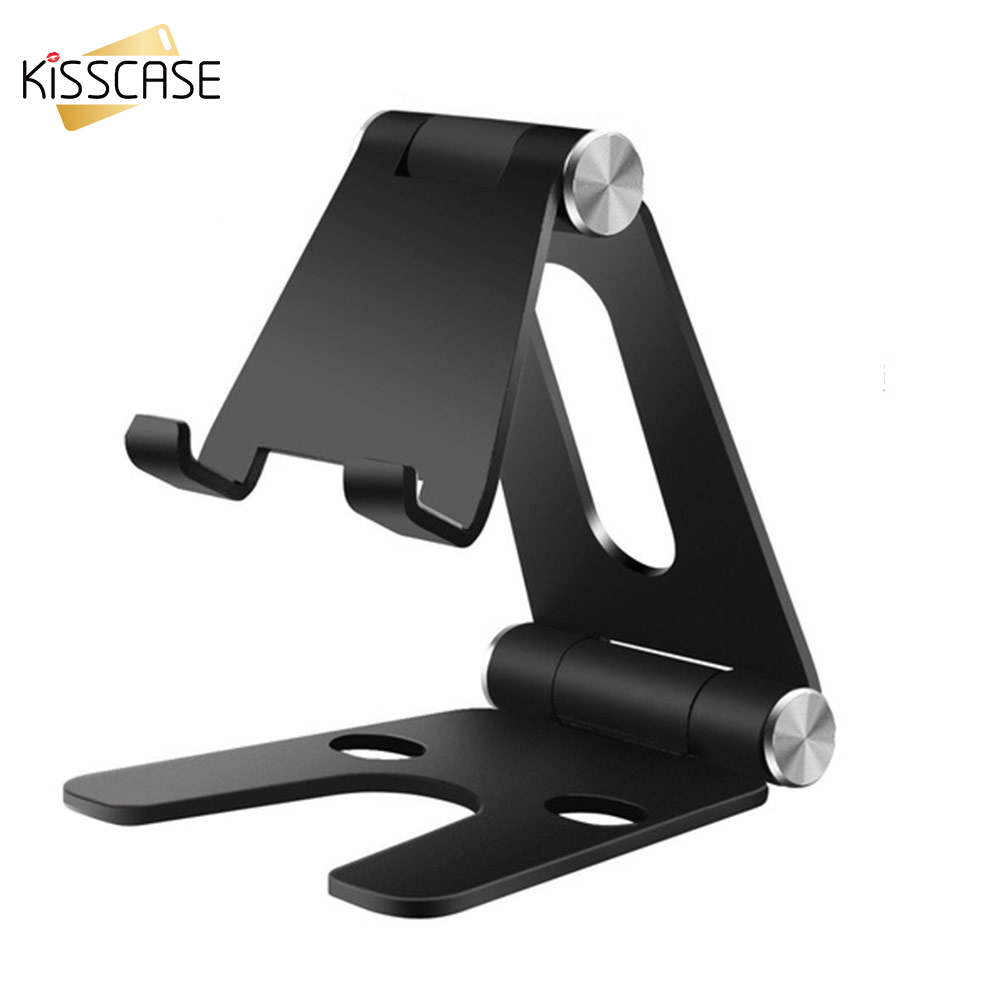 KISSCASE Foldable Metal Desktop Phone Holder Stand Rotary Cell Mobile Phone Holder For IPhone Xiaomi Portable Phone Charge Stand