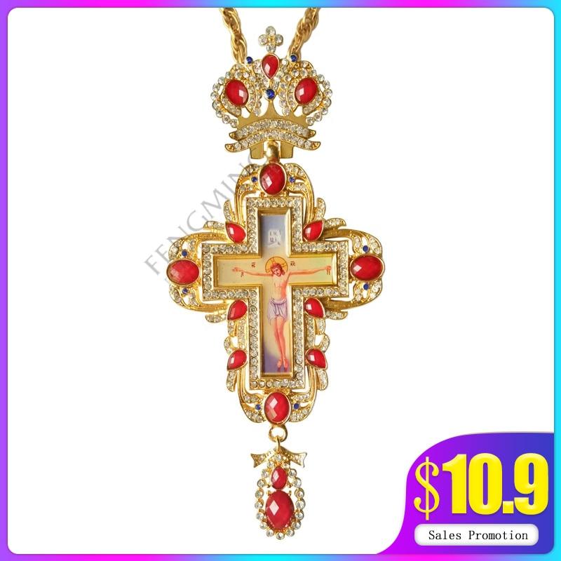 High Qualit Pectoral Cross Orthodox Jesus Crucifix Pendants Rhinestones Chain Religious Jewelry Pastor Prayer Items