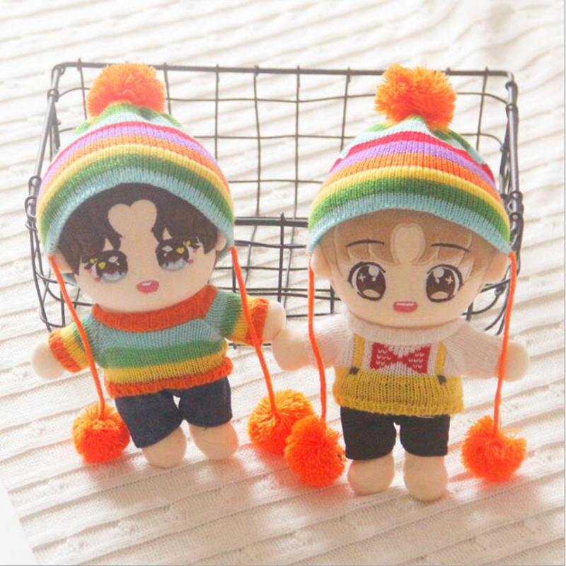22cm EXO Doll Clothes For Kpop Doll Accecoire Hat Plush Toys Soft Skirt Sweater Play House Dolls Accessories For Doll Gifts