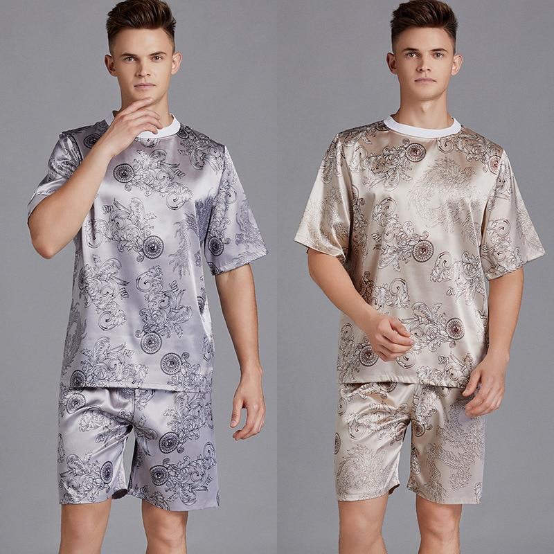 2pcs Men Pajama Set Print Satin Men Pajamas Suit Short Sleeve Shorts Silk Pyjama Man Sleepwear Spring Pajama Male Nightgown