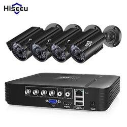 Sistema de cámara CCTV Hiseeu 4CH 720P/1080P Cámara DE SEGURIDAD AHD DVR Kit CCTV impermeable sistema de Video vigilancia para el hogar al aire libre HDD