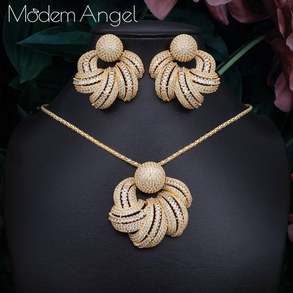 ModemAngel luxe rond cubique Zircon cristal CZ Long Dangle collier pendentif boucles d'oreilles pour les femmes de haute qualité fête/bijoux Weddi