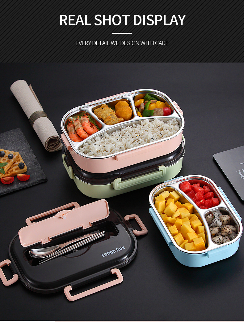 H37e00e2214d44870ad668829eeb5ea03o - WORTHBUY Japanese Kids Lunch Box 304 stainless steel Bento Lunch Box With Compartment Tableware Microwave Food Container Box