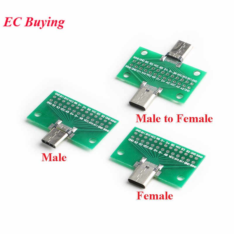 Tipe-C Male Ke Female USB 3.1 Uji Papan PCB Adaptor Type C 24P 2.54Mm Konektor Soket untuk Data Line Kawat Kabel Transfer