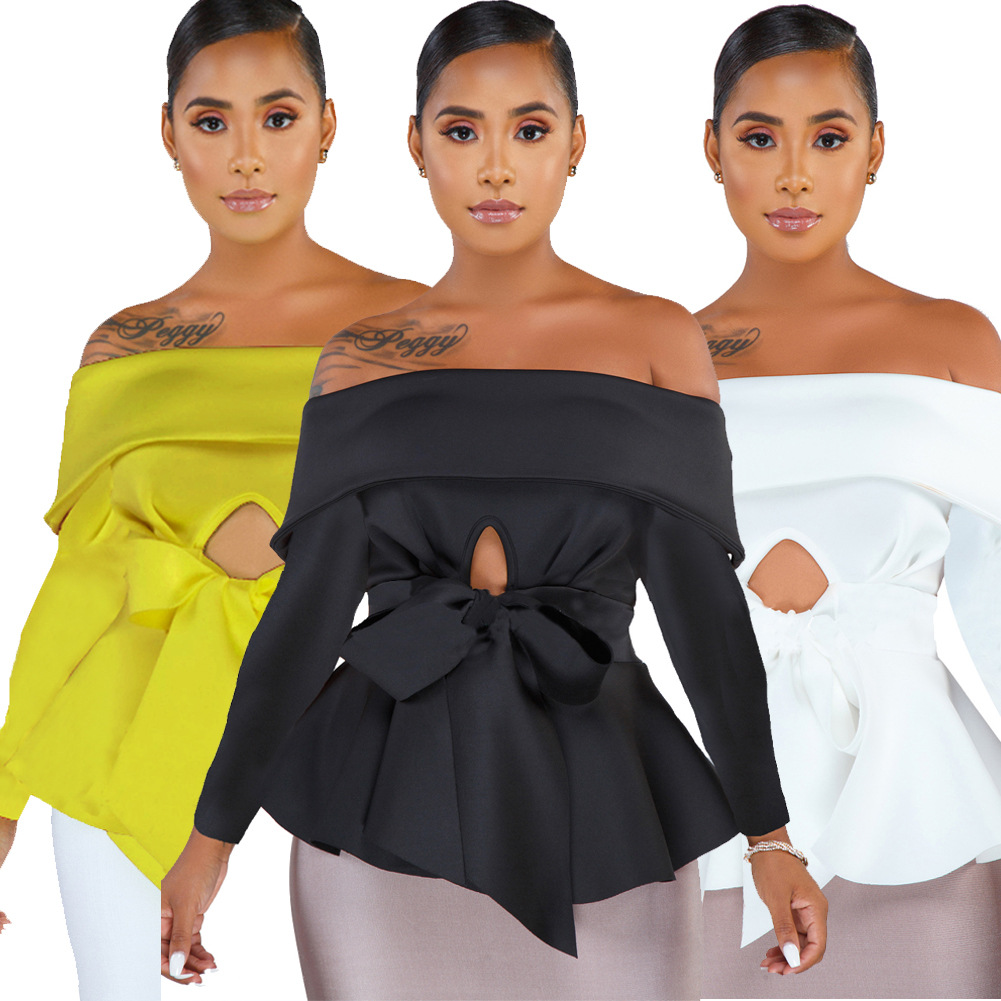 Off Shoulder Sexy Blouse Tops Hollow Out Front With Waist Belt Long Sleeves Peplum Bluas Party Wear Female Women Spring Fashion