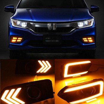 2Pcs LED DRL Daytime Running Light For Honda City 2017 2018 2019 With Yellow Turning Function Car Accessories