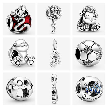 925 Sterling Silver Mushu Openwork Music Notes Daisy Flower Bouquet DIY Fine Beads Fit Original Pandora Charm Bracelet Jewelry