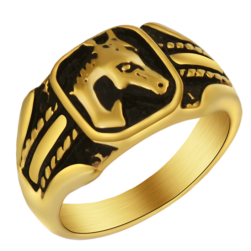 Free shipping Unisex Horse Head Gold Ring for Crazy Horse Lovers Girl Boy Woman Man Equestrian people size 7-14 image