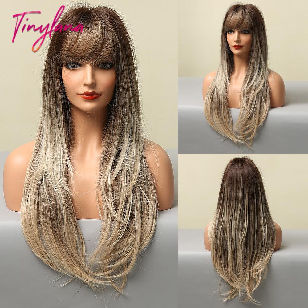 cabelo sintético marrom escuro loira destaque perucas para mulher