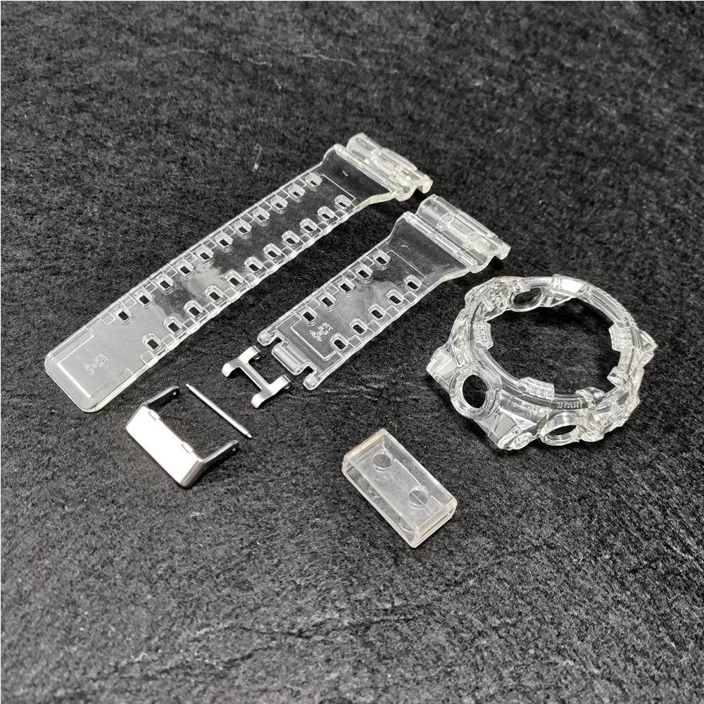 Glace Transparent Silicone bracelet bracelet montre cadre pour GA700 série bracelets de montre en caoutchouc et lunette avec fermoir en métal boucles de montre