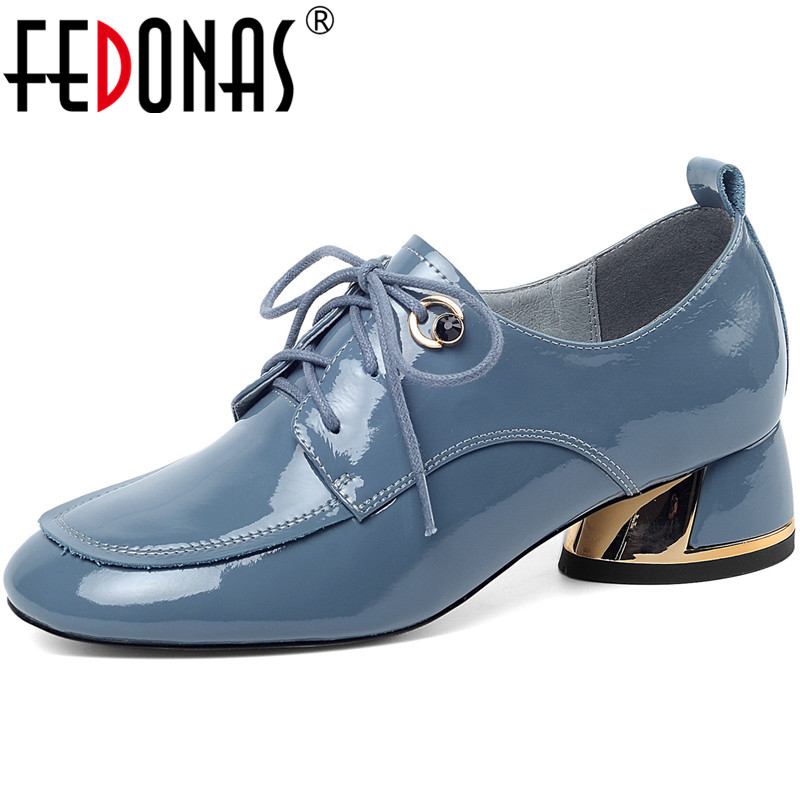 FEDONAS Classic Design Elegant Spring Summer Square Heels Women Metal Decoration Pumps Patent Leather Round Toe New Shoes Woman