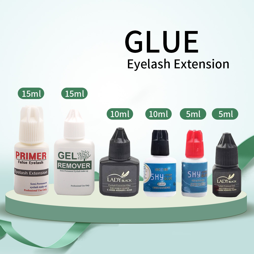 1Bottle Sky Glue/Lady Black Glue For Eyelash Extension With Low Irritation 3-4 Second Fast Drying Glue Primer/Cleaner