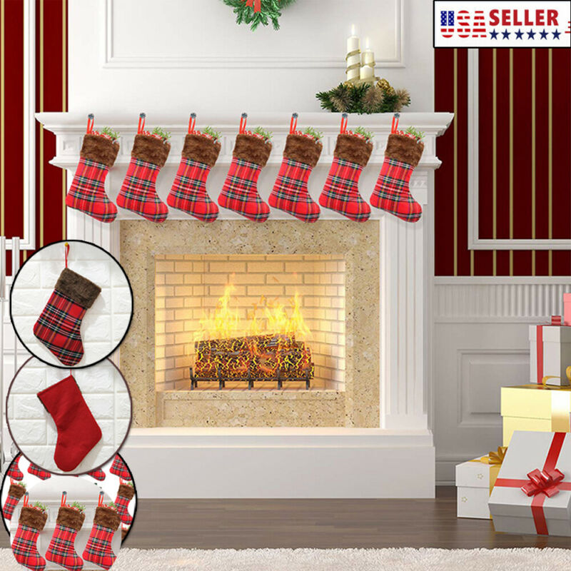 Christmas Red Stockings Hangers Xmax Gift Socks Bags Plaid Fabric Decor Xams Stockings Gift Holders