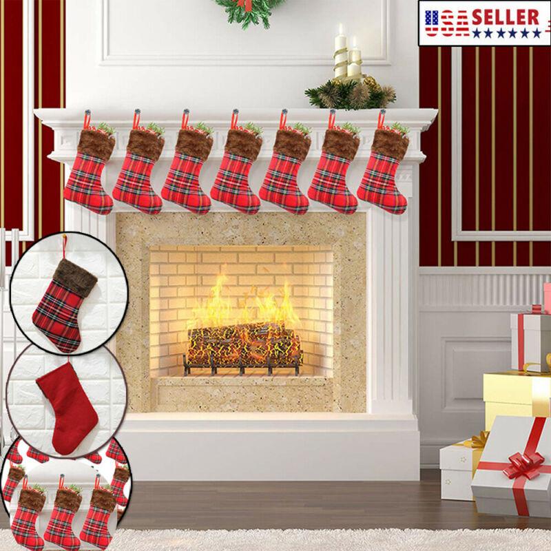 Christmas Red Stockings Hangers Xmax Gift Socks Bags Plaid Fabric Decor Xams Stockings Gift Holders
