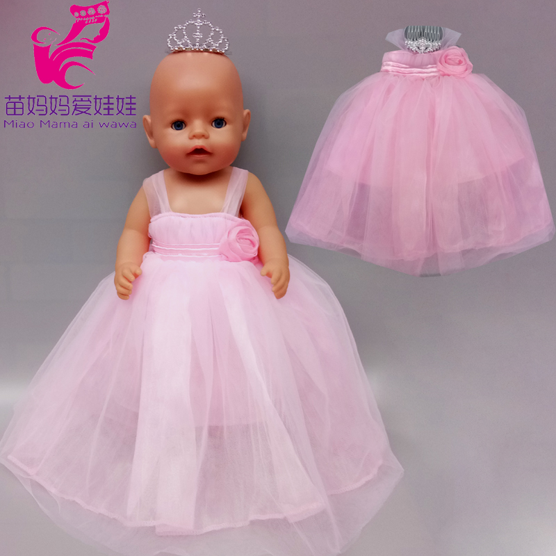 40cm 43cm New Born Baby Doll  Pink Bride Dress 18 Inch American OG Girl Doll Dress With Crown Children Toys Wears