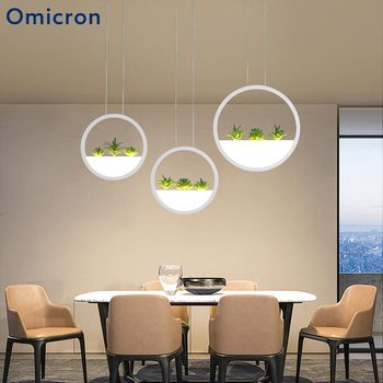 Omicron Modern Pendant Lights Circle Plant Decorative Suspension Lamp For Restaurant Dining Room Hanging Lighting