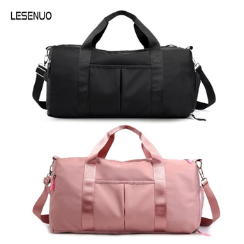 Nylon Women Men Travel Sports Gym Shoulder Bag Large Waterproof Nylon Handbags Black Pink Color Outdoor Sport Bags 2019 New 1