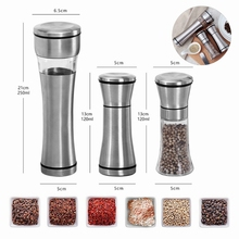 Stainless Steel Manual Salt Pepper Mill Spice Grinder Muller Kitchen Tools pepper Mill with Adjustable Ceramic Grinder stainless steel pepper mill manual salt grinder muller kitchen accessories solid condiment grinding bottle kitchen gadgets