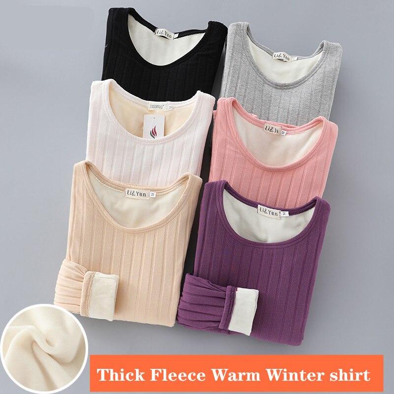 2019 Winter Warm T Shirt Thick Fleece Thermal Underwear Long Sleeve Stripe Cotton Tee Shirt Super Soft T-Shirt O Neck Top Shirt