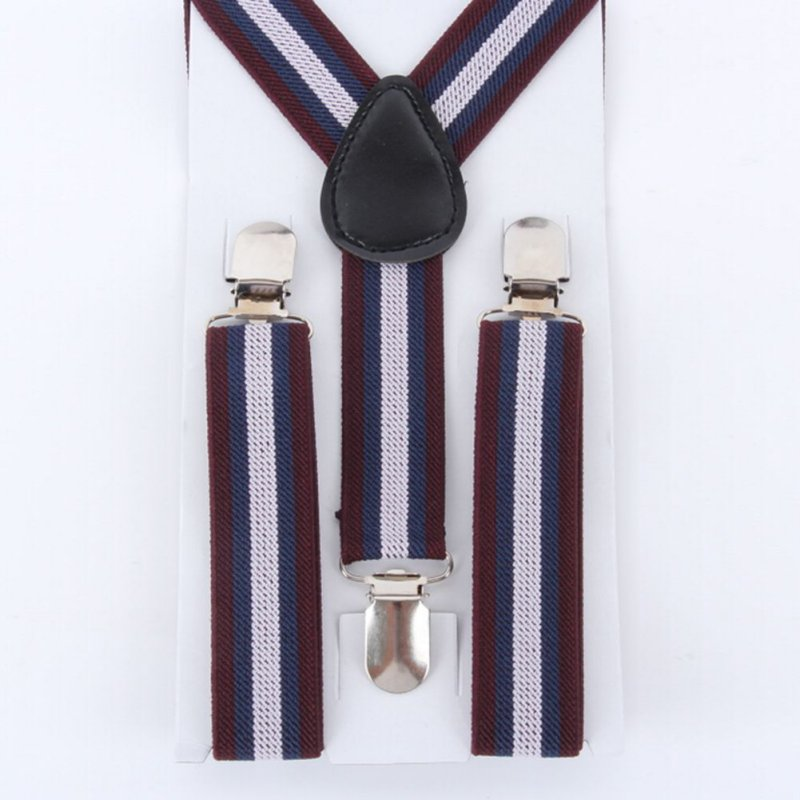 Adjustable Boys Children Stripes Clip-on Suspender Y-Back Child Elastic Suspenders 2-8 Y