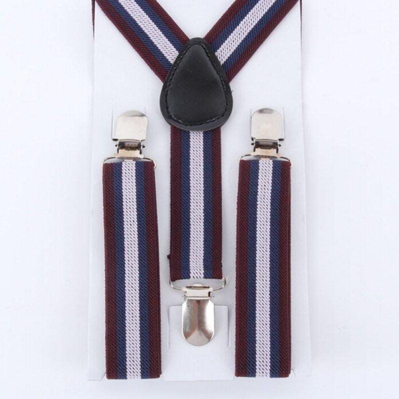 Adjustable Boys Children Stripes Clip-on Suspender Y-Back Child Elastic Suspenders 2-8 Y