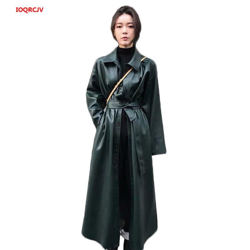Faux   Leather   PU Coat Long Trench Coat For Women Windbreaker Autumn Black Single Breasted Belt Cool PU   Leather   Long Jacket 1499