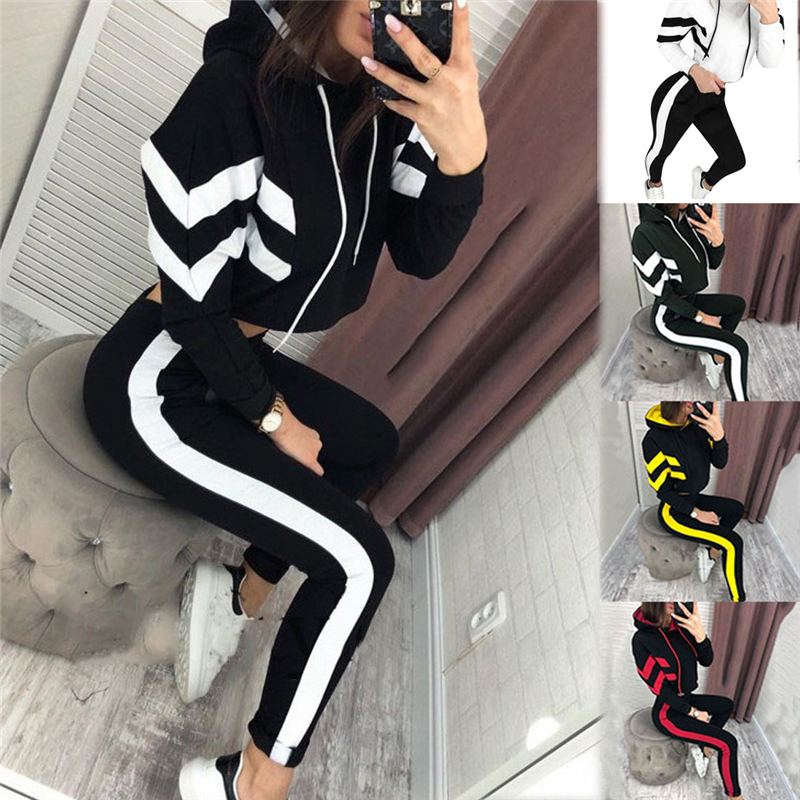 2 Piece Set Women Ropa Deportiva Mujer Patchwork Hoodie Top And Pants Jogging Suit Women Tracksuit Casual Women Clothing Outfits
