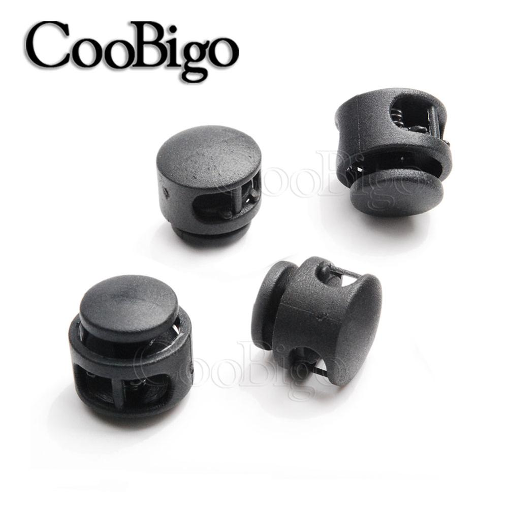 Lot 12pcs Paracord Cord Lock Clamp 2 Hole Black Toggle Clip Stopper Accessories