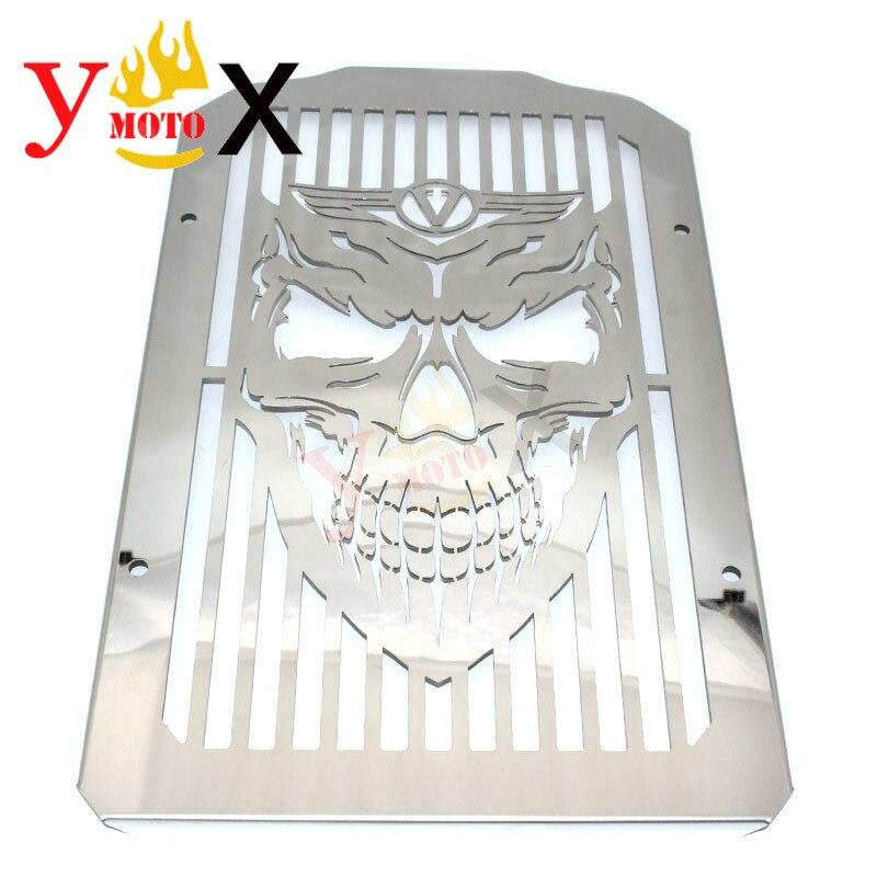 Chrome crâne moto radiateur couvercle protecteur filet pour Kawasaki Vulcan 900 VN900 classique/LT VN900C personnalisé/SE 2006-18