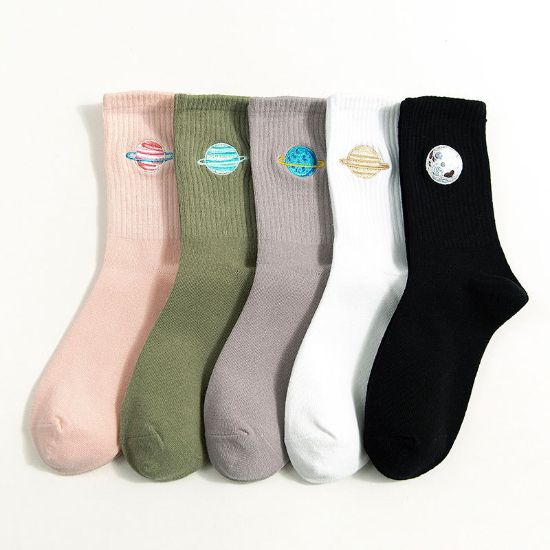 Planet Space Universe Cotton Fashion Women Cute College Funny Socks Ankle Happy Candy Kawaii Animal Dog Embroidered Winter Socks