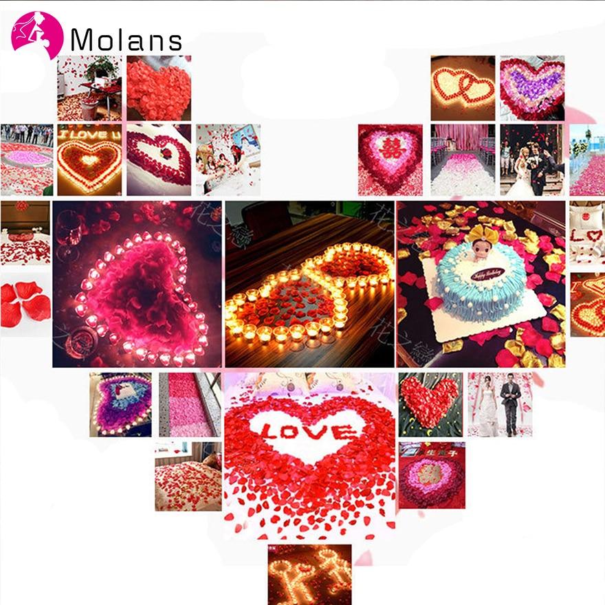 MOLANS 500pcs 5*5cm Muti-color Silk Cloth Stimulated Rose Petals For Wedding Room Arrangement Romantic Sweet Wedding Decorations