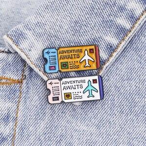Мультипликационный купон на авиаторские купоны, эмалированные штифты на лацкан Adventure for 1 Hug 1 Smile, Love мешочек для брошек, значок, милая бижутер...