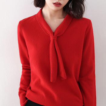 Новинка 2020, модель 100%, Женский пуловер с бантом, Модный облегающий вязаный свитер, сохраняющий тепло, горячая распродажа, осень и зима