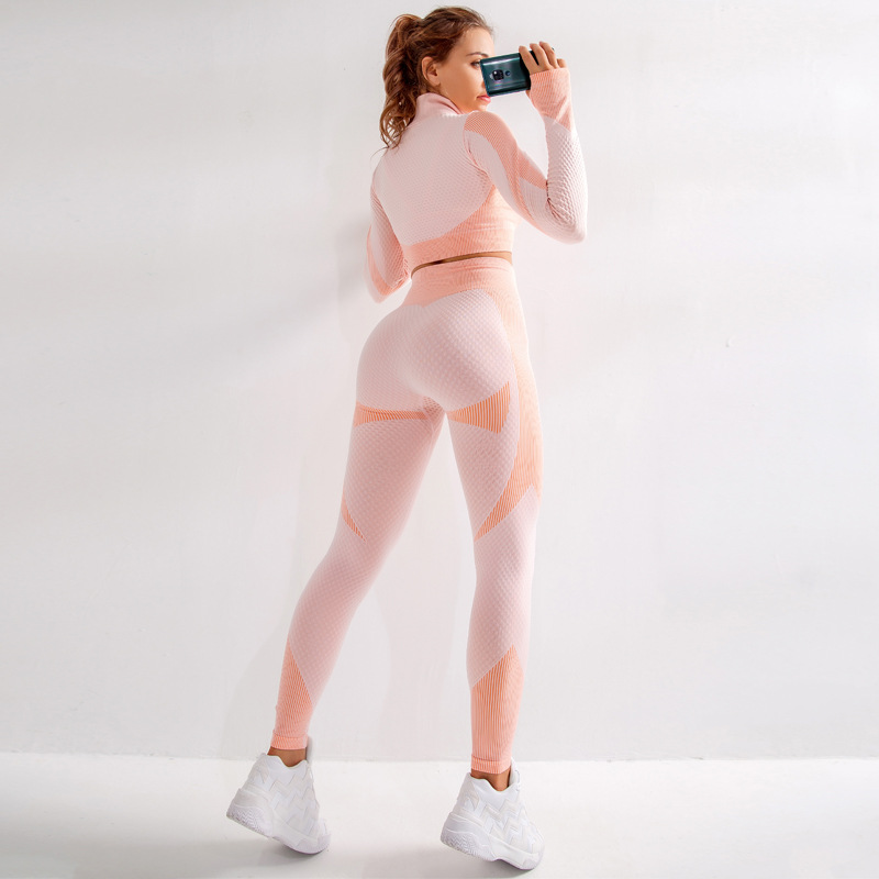 Sexy Women clothes Seamless Set Fitness Leggings+Long Sleeve crop top gothic Suit Tracksuit Active Wear gym leggings pants(China)