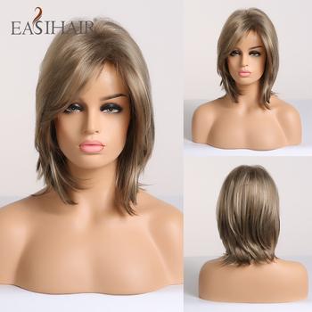 EASIHAIR krótkie peruki syntetyczne dla kobiet blond Bob peruki warstwowe włosy naturalne Cosplay codzienne peruki wysokiej temperatury włókna pełne peruki tanie i dobre opinie Średni Kręcone 1 sztuka tylko Średnia wielkość