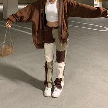 Marron droit Y2K jean pour filles mode féminine patché femmes Vintage Denim pantalon 2021New taille haute pantalon Harajuku Capris