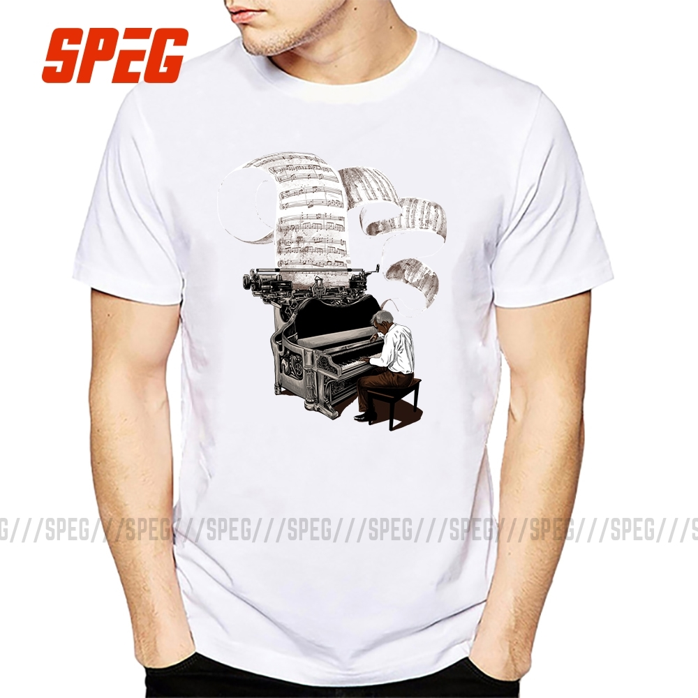 Design Composer Music Note Piano Pianist T Shirt Men Male Short Sleeve Thanksgiving Day Custom 3XL Group Tee Shirts image