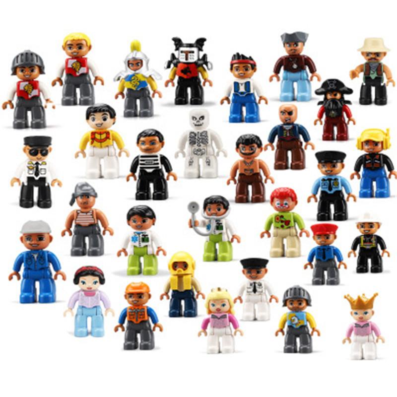 1Pcs Double Blocks Big Size Action Figures City Princess Policemen Family  Building Block Compatible Brand Doubles Education Toy